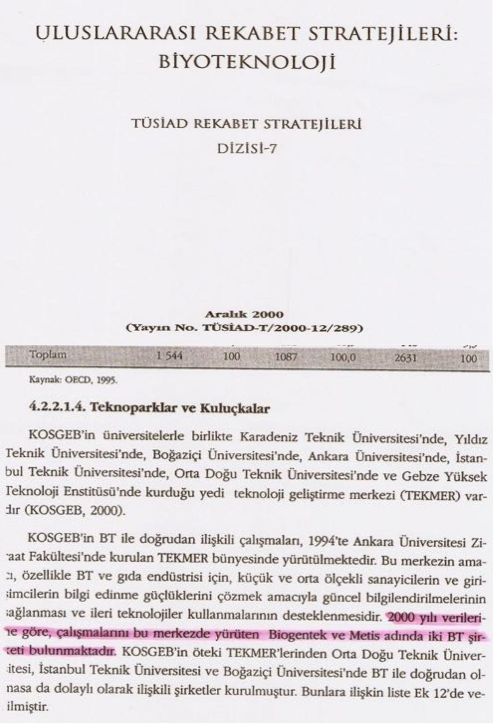 12/6/2000 - Metis in TUSIAD Biotechnology report 2000