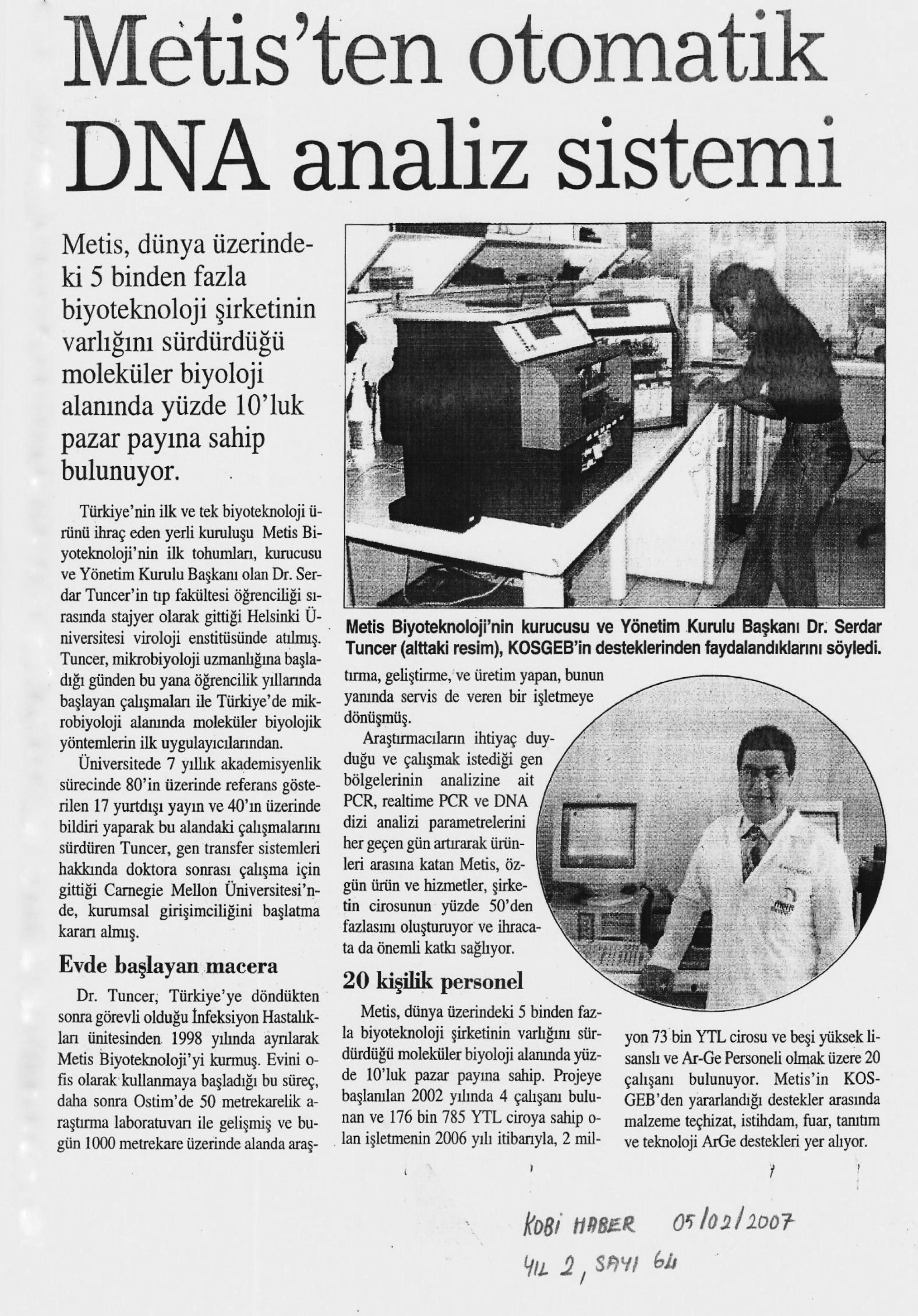 2/5/2007 - Metis Automated DNA Synthesis at SME News