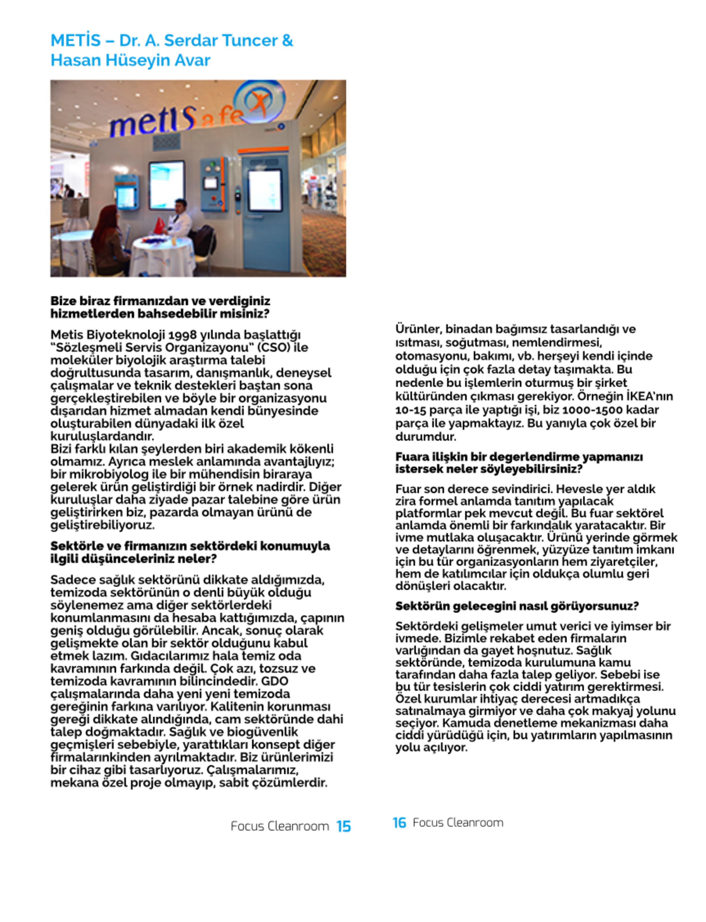 7/12/2015 - Focus Clean Room Magazine Metis Reportage: focuscleanroom.com June 2015